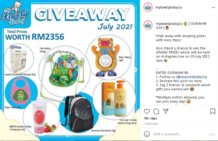giveaways at My Lovely Baby